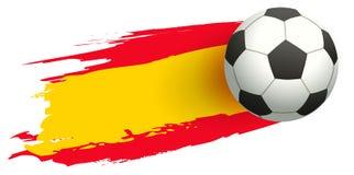 足球在西班牙旗子背景中  免版税库存图片