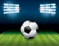 足球在领域例证的橄榄球球 库存照片