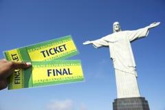 足球在Corcovado里约热内卢的世界杯票 免版税库存图片