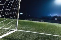 足球场和目标看法  免版税库存图片