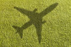 足球场的角落与飞机的 库存照片