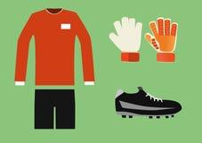足球守门员成套工具 免版税库存照片