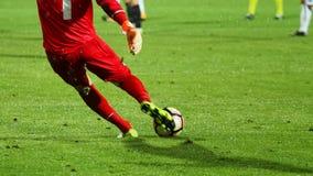 足球守门员采取射击 免版税库存照片