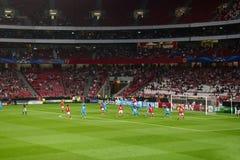足球或橄榄球行动-欧洲联赛冠军杯 免版税库存照片
