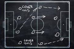 足球或橄榄球赛战略计划在粉笔板的 免版税库存照片