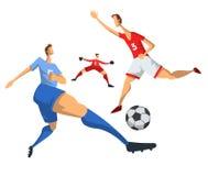 足球抽象平的样式的足球运动员 在空白背景查出的向量例证 皇族释放例证