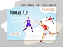 足球抽象平的样式的足球运动员 导航illutration、体育站点设计模板,横幅或者海报 向量例证