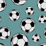 足球无缝的样式 炫耀辅助装饰品 Footbal 库存图片