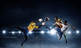 足球最佳的片刻 混合画法 混合画法 免版税库存照片