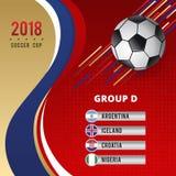 足球杯冠军小组D模板设计 免版税图库摄影