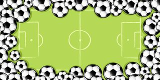 足球框架在足球沥青的 免版税库存照片