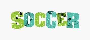 足球概念五颜六色的被盖印的词例证 免版税库存照片