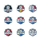 足球模板冠军的徽章传染媒介 免版税库存照片