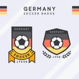 足球模板冠军的徽章传染媒介 库存照片