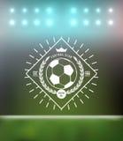 足球橄榄球印刷术徽章设计元素 库存图片