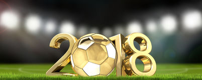 足球橄榄球场和金黄橄榄球球2018 3d renderi 免版税库存照片