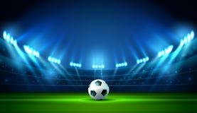 足球橄榄球场聚光灯和记分牌 皇族释放例证