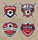 足球橄榄球徽章商标设计 库存例证