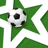 足球橄榄球海报 与白色星和soc的草背景 免版税库存图片