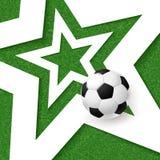 足球橄榄球海报 与白色星和soc的草背景 库存图片