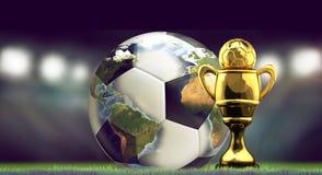 足球橄榄球球和奖杯 世界体育场概念3d 免版税库存图片