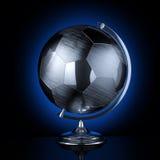 足球比赛的时髦的不锈钢地球 库存图片