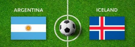 足球比赛阿根廷对 冰岛 皇族释放例证