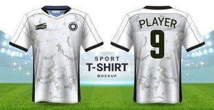 足球泽西和运动服T恤杉大模型模板,现实图形设计前面和后面视图橄榄球成套工具制服的 皇族释放例证