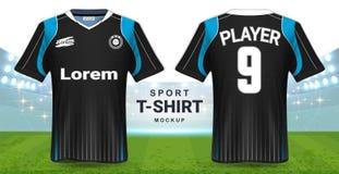 足球泽西和运动服T恤杉大模型模板,现实图形设计前面和后面视图橄榄球成套工具制服的 向量例证