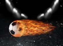 足球火球在体育场的 免版税库存照片