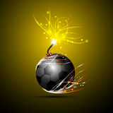 足球炸弹商标 免版税库存图片