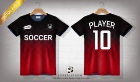 足球球衣和T恤杉炫耀大模型模板、图形设计橄榄球成套工具的或activewear制服 向量例证
