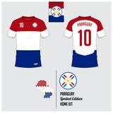 足球球衣或橄榄球成套工具,巴拉圭国家橄榄球队的模板 在巴拉圭旗子标签的平的橄榄球商标 皇族释放例证