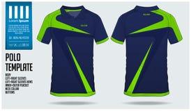 足球球衣的,橄榄球成套工具在正面图的体育制服蓝色和绿色条纹马球T恤杉体育模板设计 库存例证