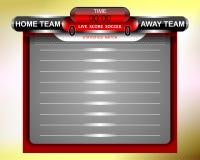 足球红色记分牌统计比赛 免版税库存图片