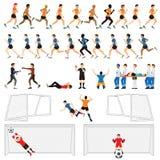 足球行动的人球员动画片字符集  免版税库存照片