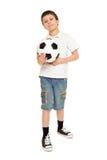 足球被隔绝的男孩演播室 免版税库存照片