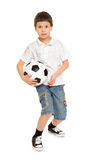 足球被隔绝的男孩演播室 库存照片