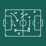 足球赛战略教练的黑板和白垩策划 皇族释放例证