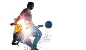 足球赛背景 混合画法 免版税库存图片