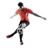 足球运动员人被隔绝的剪影 图库摄影