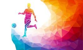 足球运动员创造性的剪影  足球运动员踢在时髦抽象五颜六色的多角形样式的球与彩虹 库存例证