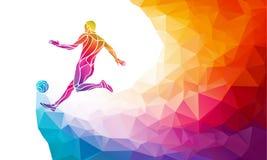 足球运动员创造性的剪影  足球运动员踢在时髦抽象五颜六色的多角形样式的球与 向量例证