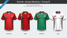足球运动员制服,国家队足球球衣2018小组B 免版税库存图片