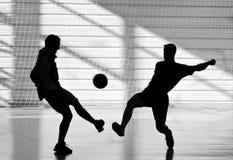 足球运动员剪影  免版税库存图片