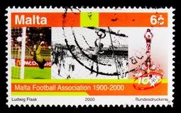 足球运动员和战利品,体育比赛2000年serie,大约2000年 免版税图库摄影