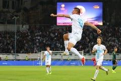 足球运动员庆祝一个比分 图库摄影