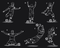 足球运动员白色在黑背景 库存图片