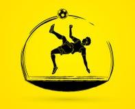 足球运动员翻筋斗反撞力,倒钩球图表传染媒介 免版税库存图片