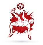 足球运动员翻筋斗反撞力,倒钩球图表传染媒介 免版税库存照片